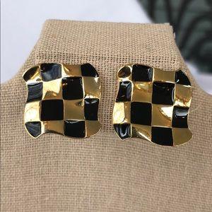Avon vintage checkerboard pierced earrings